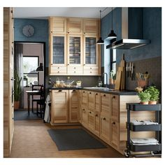 Seria TORHAMN - IKEA This trendy decoration style, which produces warm and intimate settings having Home Kitchens, Rustic Kitchen, Kitchen Remodel, Kitchen Design, Light Wood Kitchens, Kitchen Interior, Natural Wood Kitchen Cabinets, Kitchen Style, Hickory Kitchen Cabinets