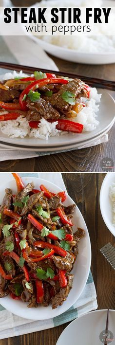 An easy steak stir fry recipe with onions and red peppers. Fresh orange zest mak… An easy steak stir fry recipe with onions and red peppers. Fresh orange zest makes this stir fry recipe. Onion Recipes, Beef Recipes, Cooking Recipes, Healthy Recipes, Recipes With Steak, Recipes With Peppers, Recipes With Rice, Red Pepper Recipes, Sirloin Recipes