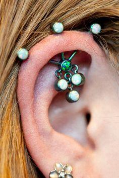 Industrial, ear piercings, #piercings #bodyjewelry