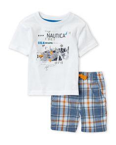 Nautica (Infant Boys) Two-Piece White Graphic Tee & Blue Plaid Shorts Set