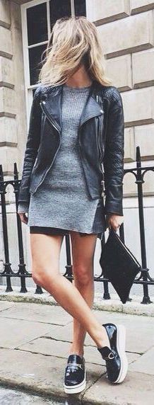 #fall #outfits / leather jacket