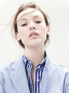 J.Crew deconstructed shirt blazer in rhone blue and vertical-stripe shirt in cerulean cove.