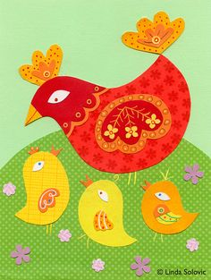 Shirley And Her Peeps Chicken Print 8.5 x 11 by lindasolovic