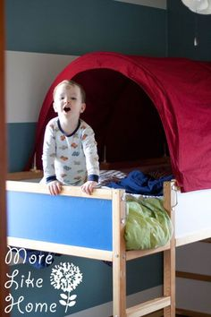 I promised a lot of tutorials when I posted Big Brother's room reveal (check it out here ). and we're finally going to tackle one! Bunk Bed Tent, Bunk Beds, Brothers Room, Kura Bed, Building Plans, Ikea Hack, Toy Chest, Storage Chest, Toddler Bed