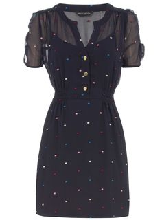 Blue embroided spot tunic at Dorothy Perkins