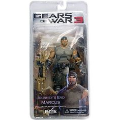 NECA Gears of War 3 Series 3 Action Figure Journeys End Marcus Fenix with Gold Retro Lancer