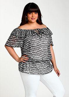 Curvy Girl Fashion -  Ashley Stewart: Off-the-Shoulder Print Blouse