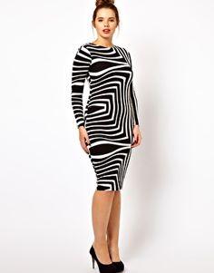 ASOS CURVE Body-Conscious Dress In Geo Mono Print $49.88