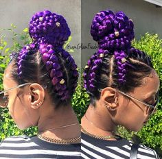 Purple braids are one of the many hairstyle trends that have become popular in recent years. Let's take a look at 35 stylish ways you can rock purple braids. Purple Braids, Black Girl Braids, Girls Braids, Purple Hair, Ghana Braid Styles, Ghana Braids, Braids In A Bun, Braids Cornrows, Bun Styles