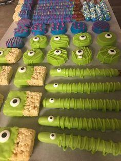 2 dozen Monsters Inc Eyes Chocolate Covered Pretzels Oreos Birthday Party Favors Dessert Boys First Birthday Party Ideas, Little Monster Birthday, Monster 1st Birthdays, Birthday Party Snacks, Monster Birthday Parties, Toy Story Birthday, Halloween Birthday, 1st Boy Birthday, First Birthday Parties