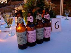 """""""Till Death Do Us Pilsner"""" and """"With This Ring I Thee Red-Ale"""" homemade beer wedding labels"""