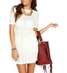White Stripe Skater Dress