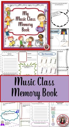 MY MUSIC CLASS MEMORY BOOK is an interactive memory book for the end of the year!  ♫ Your students will have something to look back on their favorite class - music!  ♫ The memory book contains 14 different pages for your students to complete.   ♫ Both a colored and a black & white version is included in the download  ♫ Each page of the memory book is 1/2 page size   ♫ No cutting required, just fold!