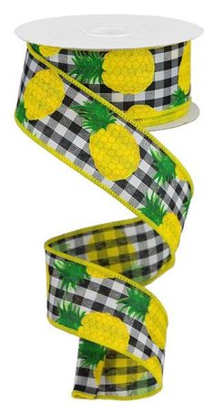 Excited to share this item from my #etsy shop: Pineapple Black White Gingham Wired Ribbon, Black White Check Pineapple ribbon, Pineapple ribbon, Yellow Black ribbon, Pineapples ribbon #black #white #waysidewhimsy #wreathsbyrobin #wiredribbon Yellow Cream, Yellow Black, Black And White, Bulk Ribbon, Wired Ribbon, Bee Photo, Thing 1, Wreath Supplies, Gingham Check