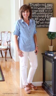 Blue Chambray & White Jeans - Very classy. What I Wore-Fashion For Women Over 40