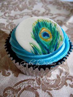 Fondant peacock cupcake/cake topper (EDIBLE). $16.00, via Etsy.