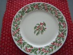 Holiday Ribbon Genuine Stoneware Christmas Plates (Set of 4) - $16.99