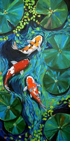 Koi Pond Wall Art Print, Abstract Painting Print