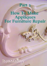 How To Make Appliques For Furniture 2 is part of furniture Restoration How To Make - Learn how to make your own furniture appliques part 2 Furniture Repair, Old Furniture, Repurposed Furniture, Shabby Chic Furniture, Furniture Projects, Furniture Making, Furniture Makeover, Painted Furniture, Furniture Refinishing