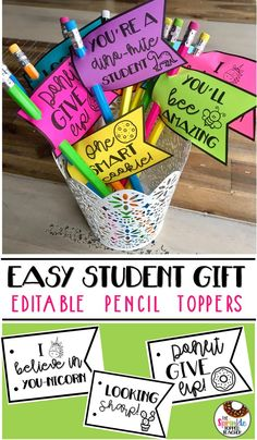 East student gift! Editable pencil toppers and pencil flags! Great for back to school gifts, welcome back, testing incentives, student birthday gifts, end of the year gifts, etc!