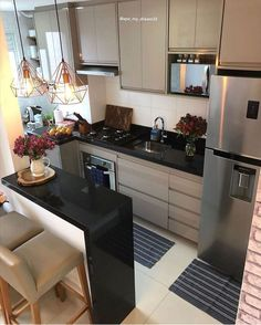 Kitchen Room Design, Home Room Design, Modern Kitchen Design, Kitchen Layout, Home Decor Kitchen, Interior Design Kitchen, Home Kitchens, Kitchen Designs, Modern Small Apartment Design