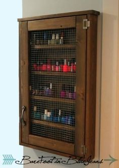 Nail polish cabinet | Do It Yourself Home Projects from Ana White-use for oils