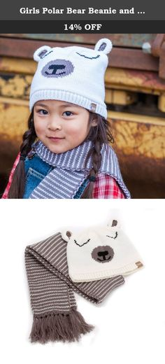 Girls Polar Bear Beanie and Stripe Scarf Set - White - S (1-2Y). Show off your sweet & wild side with this funny polar bear topper! Let little, big imaginations dream and keep cozy in this thick jacquard knit beanie with a kind smile. Pair with mittens for a cool gift set! Rooted in California casual with a European twist, Peppercorn Kids is a collection of stylish and colorful children's accessories. At Peppercorn Kids, we believe that uniqueness is part of a well-made product. Our…