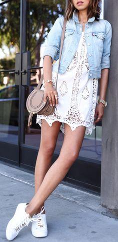 LEVI'S denim jacket | MIGUELINA Bridgette vintage embroidery cover up | CHLOE The Marcie mini textured leather shoulder bag | MICHAEL MICHAEL KORS Jet Set 6 Collection Irving leather sneaker