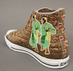 Idea: bead other scenes onto shoes. (Native American Beadwork by Teri Greeves at Home & Away Gallery) Native American Images, Native American Regalia, Native American Crafts, Native American Beadwork, Beaded Shoes, Beaded Moccasins, Indian Beadwork, Native Beadwork, Tenis Converse