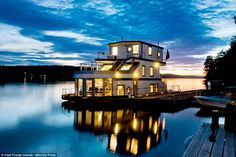 A luxury yacht on the island: The protected quay catches the evening sun and it's only an ...
