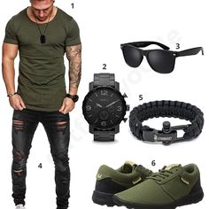 Oliv-Schwarzes Herren-Outfit mit destroyed Jeans Casual mens outfit with Olive Amaci & Sons shirt, black destroyed jeans, Supra sneakers, fossil watch, paracord bracelet and sunglasses. High Fashion Men, Fashion Wear, Mens Fashion, Estilo Tomboy, Mode Man, Style Masculin, Casual Outfits, Men Casual, Stylish Clothes
