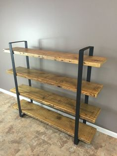 Reclaimed Wood Shelf/Shelving Unit with 4 Shelfs-industrial Urban look with 2 flat Steel Reclaimed Wood Shelves, Decor, Reclaimed Wood, Wood Furniture, Shelves, Wood Shelving Units, Shelving, Home Decor, Metal Furniture