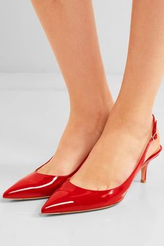 Heel measures approximately 55mm/ 2 inches Red patent-leather  Buckle-fastening slingback strap Designer color: Tabasco  Made in Italy