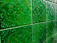 green tile with such a cool pattern
