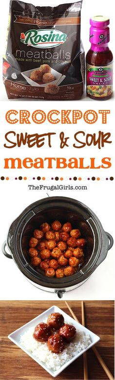 Crockpot Sweet and Sour Meatballs Recipe! ~ from TheFrugalGirls.com ~ These meatballs are crazy EASY to make and so delicious!! Make them as a Crockpot Appetizer, or serve as a main course with rice for dinner! #slowcooker #recipes #thefrugalgirls