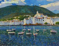 """Cadaqués"" , de Manuel Doblás Pinto.  Azul luminoso y belleza total. Óleo sobre tela.92 cm x 73 cm. SE VENDE."