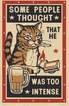 Three color screen prints by Arna Miller & Ravi Zupa, featuring fun and whimsical images of cats drinking at bars. Available for purchase online through Spoke Art Gallery. Drunk Cat, Arte Punk, Spoke Art, Illustration Art, Illustrations, Matchbox Art, Cat Posters, Funny Posters, Cat Drinking