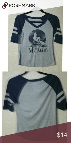 "Disney brand Little Mermaid tee shirt Classic Disney  Little Mermaid tee shirt wit h baseball sleeve, 14 "" long, pit to pit 18"", sleeve 12"" Tops Tees - Short Sleeve"