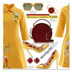 """Marigold Dresses Under $100 Top Fashion Sets for Apr 14th, 2017"" by spenderellastyle ❤ liked on Polyvore featuring Gucci, Bertoni, Vita Fede, CÉLINE, under100 and marigold"