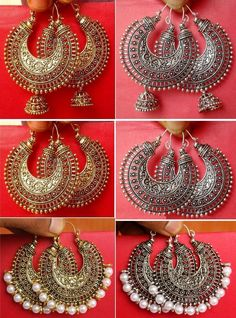 Vintage Ethnic Wedding Jewelry Gold Silver Oxidized Indian Pearl Earring Jhumka is part of jewelry Indian Oxidized - Indian Jewelry Earrings, Jhumki Earrings, Jewelry Design Earrings, Silver Jewellery Indian, India Jewelry, Ethnic Jewelry, Pearl Earrings, Silver Jhumkas, Silver Jewelry