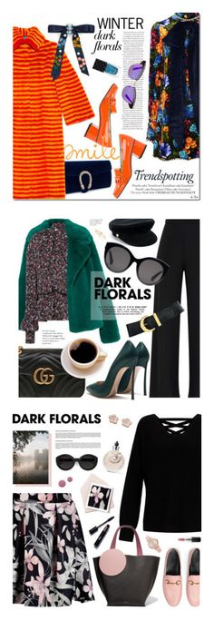 """""""Winners for Winter Prints: Dark Florals"""" by polyvore ❤ liked on Polyvore featuring Gucci, Cara, Melissa, TotalLook, winterstyle, darkflorals, Burberry, Magda Butrym, Maya Brenner Designs and Anne Klein"""