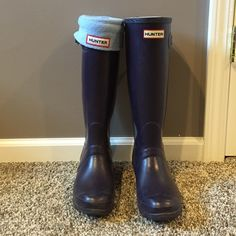 Hunter boots Purple Hunter boots with light blue socks. Posh resell: never wore to tall for me. Hunter Boots Shoes Winter & Rain Boots