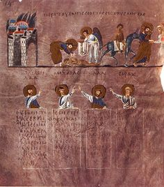 Rossano Gospels, 6th century.  This book is from Greece or the eastern Mediterranean, possibly from Antioch in Syrai or Caesarea in Palestine.