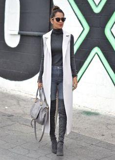 с чем носить серые ботфорты? Фото