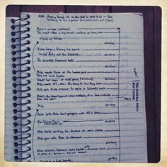 """— Outline for the unfinished novel The Young Alcoholics, from a notebook active in 2001. Not only does the author document such vital, exciting plot movements as """"Mike meets Rosa at the lumberyard"""", but also, in the manner of many young writers overly concerned with semiotics and leitmotifs, actually specifies where the theme of """"drinking"""" occurs between narrative beats. A shame that this project floundered, as it certainly would have produced a fascinating corpse upon which to perform a c"""