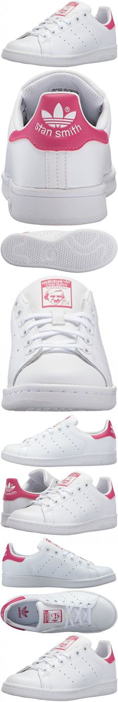 Adidas Originals Girls' Stan Smith J Skate Shoe, White/White/Bold Pink, 6.5 M US Big Kid