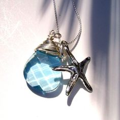 Starfish Pendant Necklace with Swarovski Crystal Briolette
