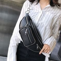 Black Trendy Bum Bag with Silver Studs for Women One Size | Baginning Vintage Clothing, Vintage Outfits, Waist Purse, Latest Fashion For Women, Crocodile, Fanny Pack, Bum Bags, Swag, Crossbody Bag