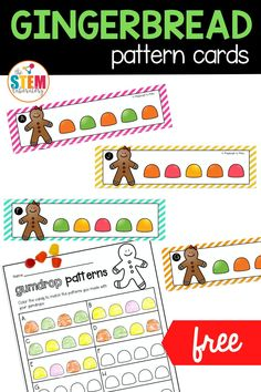 These simple and easy gingerbread pattern cards are a great way to get your early learners practicing their patterns! Add this pattern activity to your math centers for Pre-K and Kindergarten.