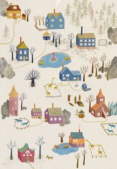 Little Village Art Print - Super Cute Illustration by Ulrika Kestere